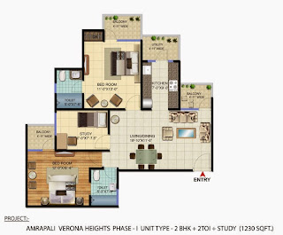 Amrapali Verona Heights :: Floor Plans 3 BHK + 2T + Study