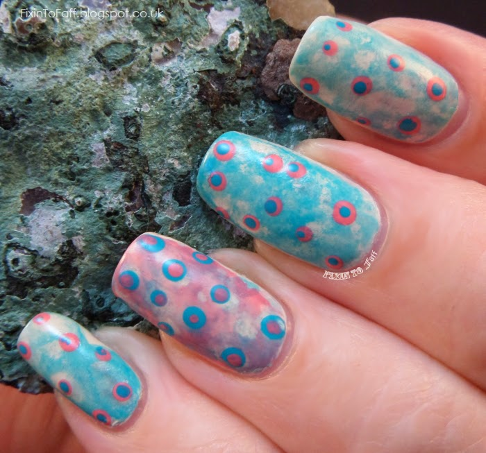Spotted watercolor nail art