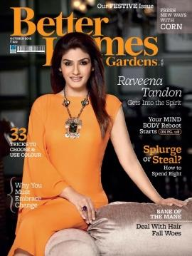 Raveena Tandon on the cover Page of Better Homes & Gardens