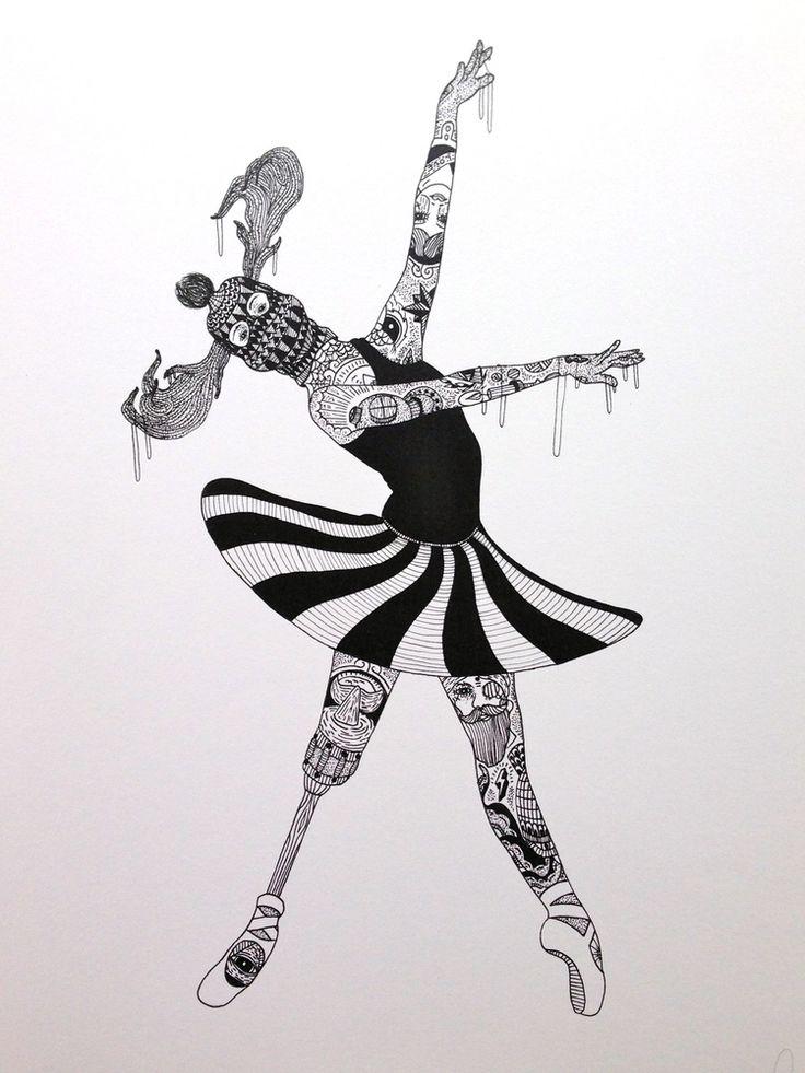 sort hvid print af en tattoveret ballerina
