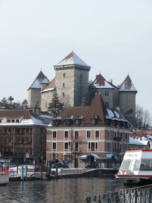 Chateau d'Annecy, snow topped castle in Annecy, France