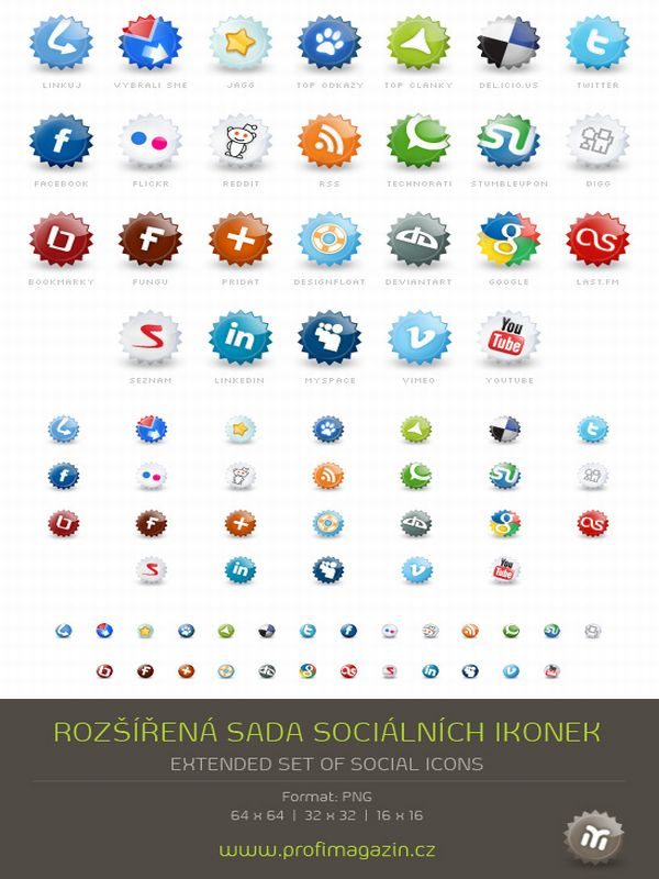 Free Extended set of social icons