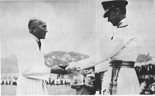 08 - Dato Sir Tan Cheng Lock receiving the insignia of KBE from the Malayan High Commissioner, General Sir Gerald Templer on 5 June 1952