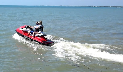 McKinley and Natalie Pritchard take Sea Doo's on the Caribbean Ocean in Placencia Belize