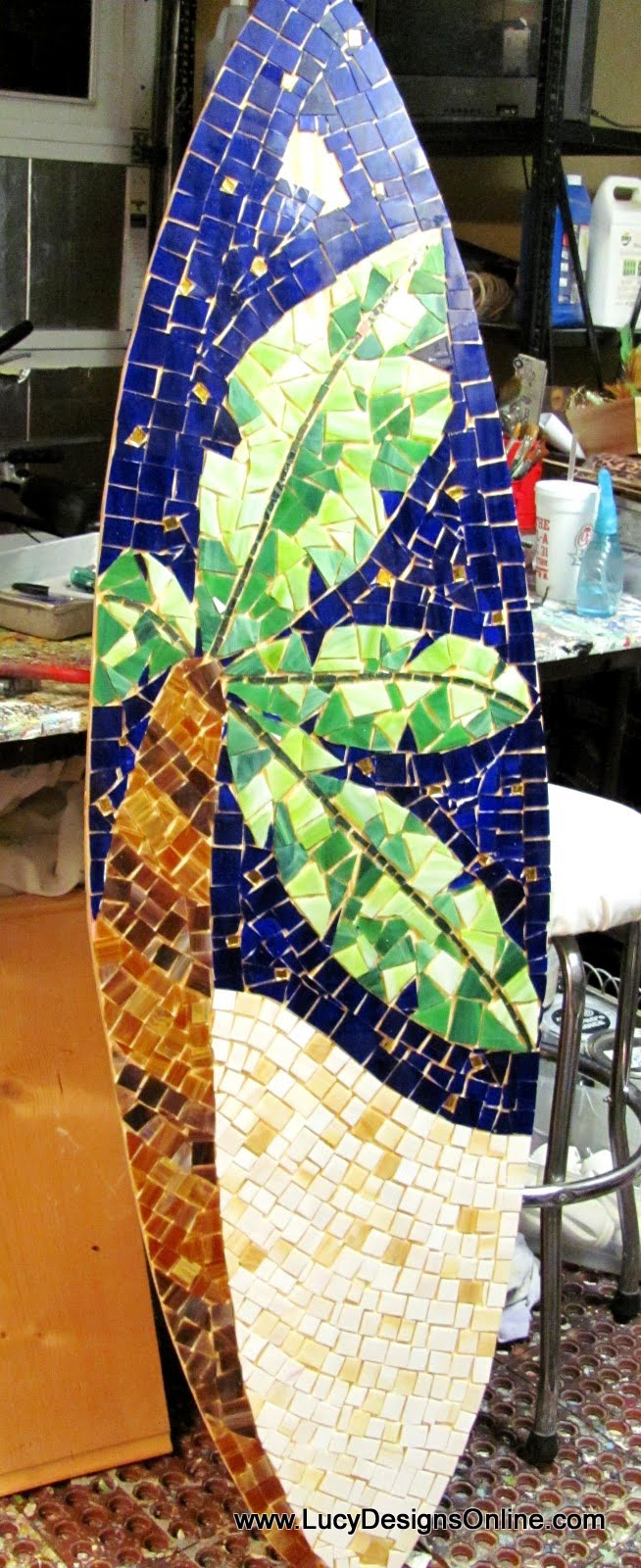 palm tree design stained glass mosaic surfboard