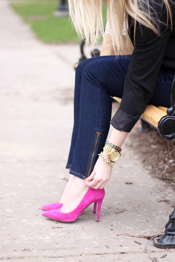 Yoga Jeans, Ankle Zip, Michael Kors Watch, Hot Pink Pumps