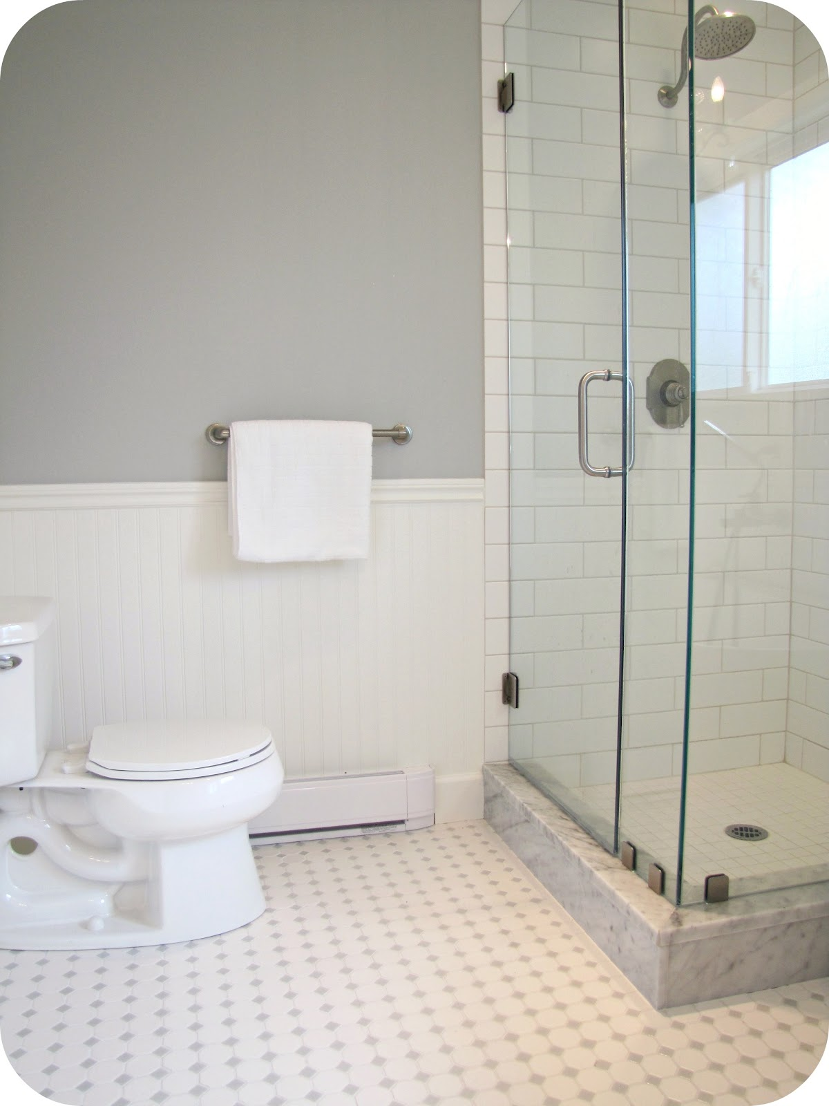 My house of giggles white and grey bathroom renovation for White bathroom tile ideas