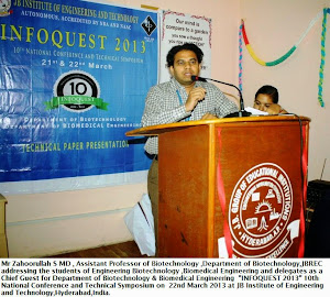 Mr Zahoorullah S MD addressing the students of Biotechnology & Biomedical Engineering
