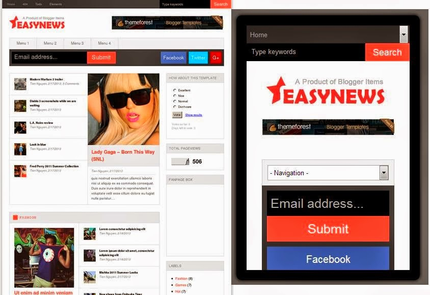 Easy News – Responsive Blogger Template
