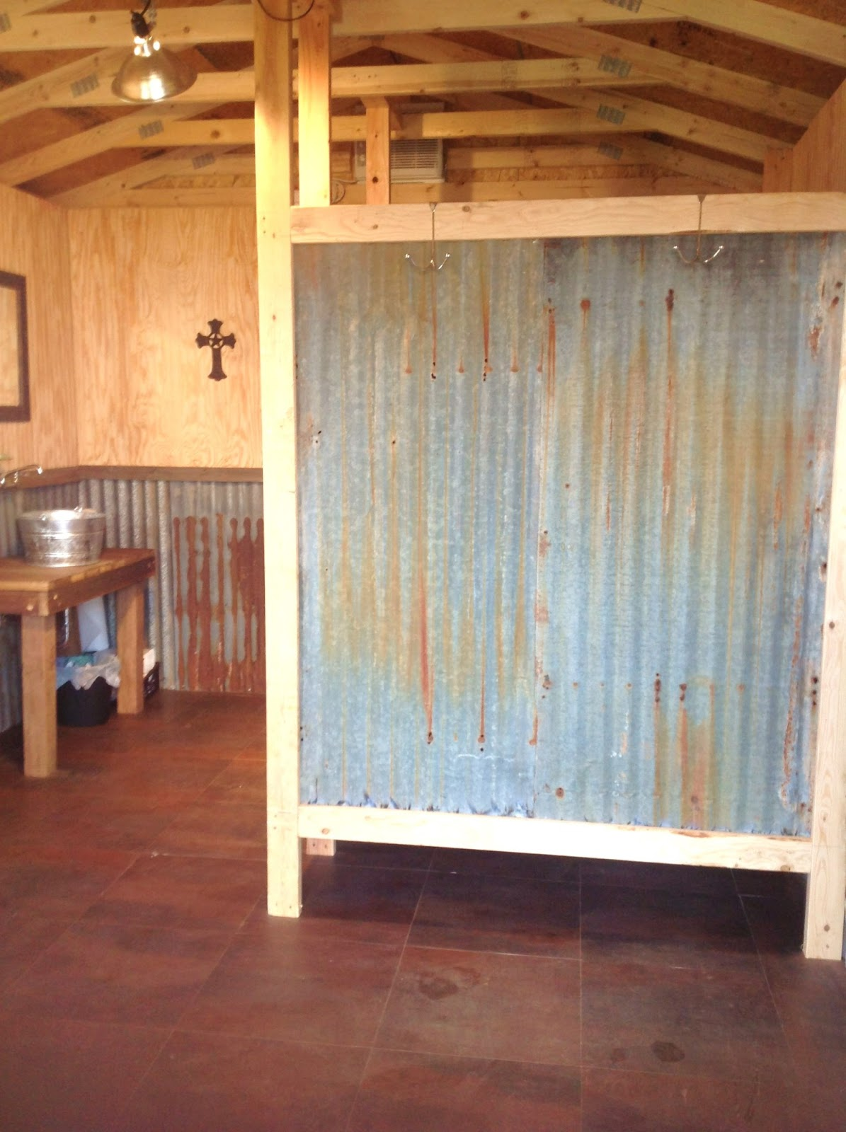Blessed oak farm his hers cabins for Stall in bathroom