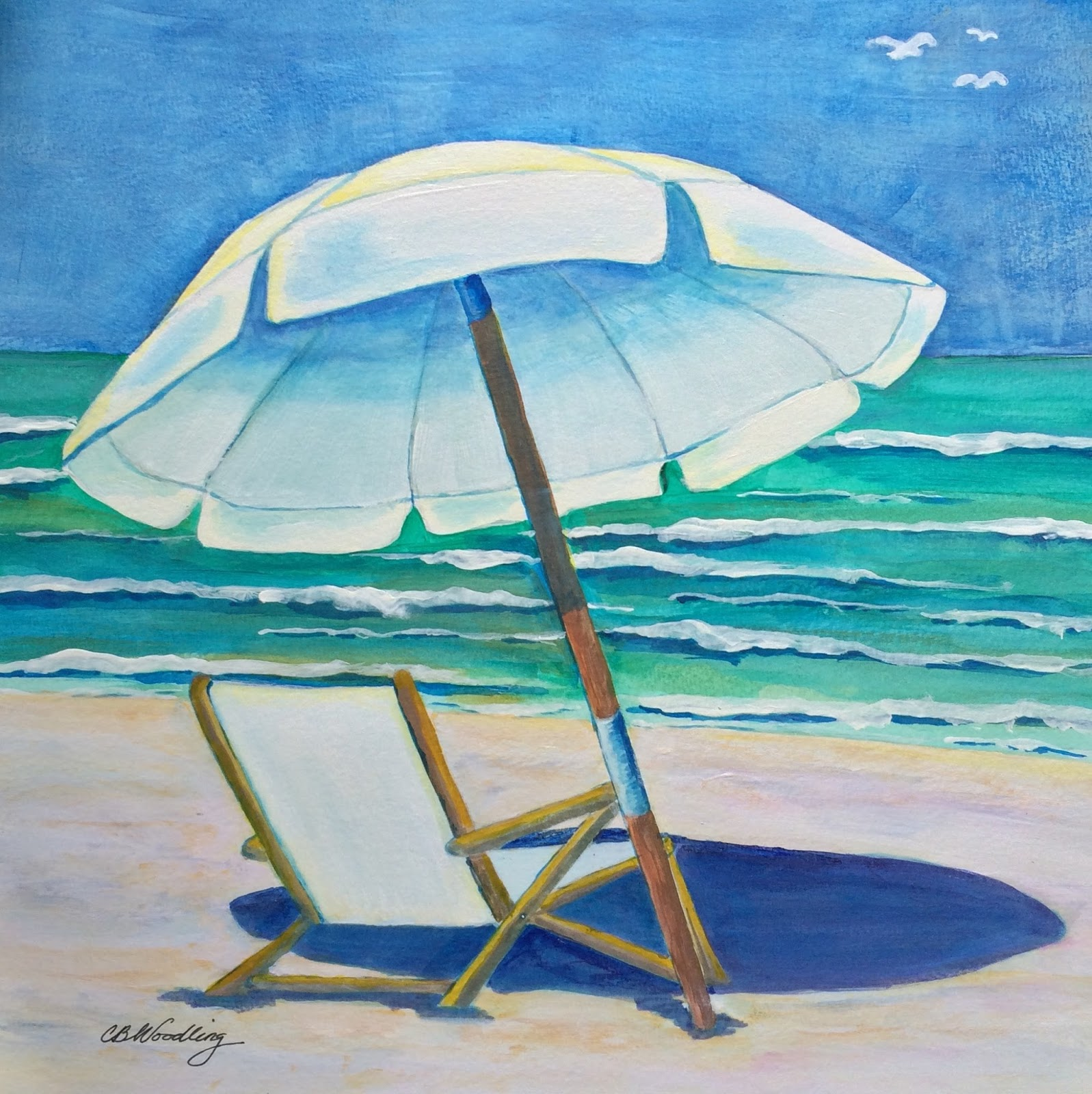 Beach chairs on the beach painting - Beach Chair In White By Cb Woodling