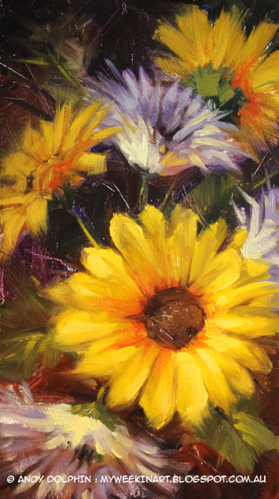 floral fireworks still life painting in oil by Andy Dolphin