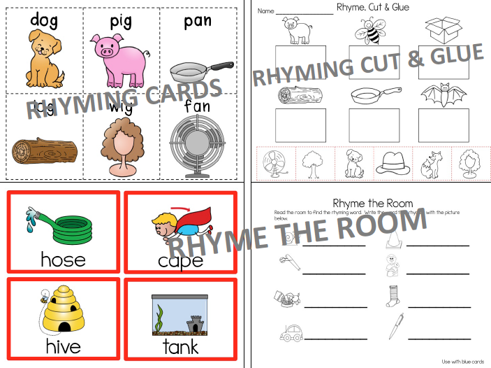 rhyming cards and worksheets, rhyme time