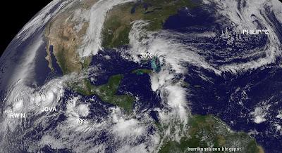Aktivität Sturm und Hurrikan Atlantik und Nordostpazifik am 9. Oktober 2011, Philippe, Jova, Irwin, Oktober, 2011, Hurrikansaison 2011, aktuell, Satellitenbild Satellitenbilder, Atlantik, Pazifik, Florida, Mexiko, Jalisco, Manzanillo,