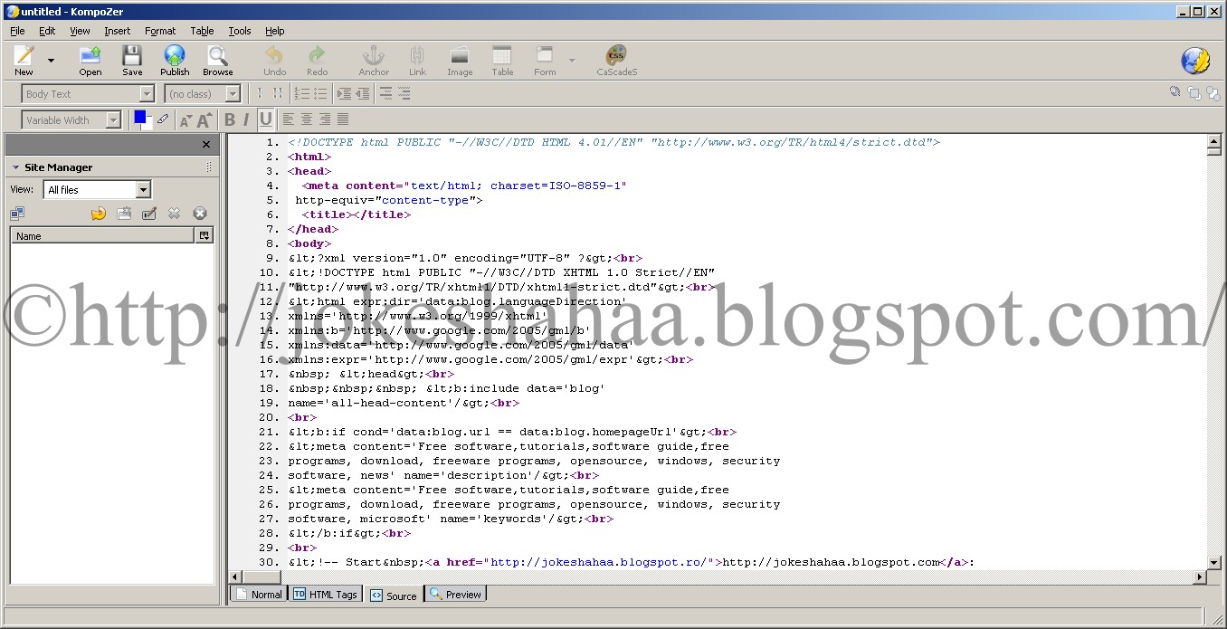 KompoZer_CSS_HTML_XML_Java_editor_Source_Format