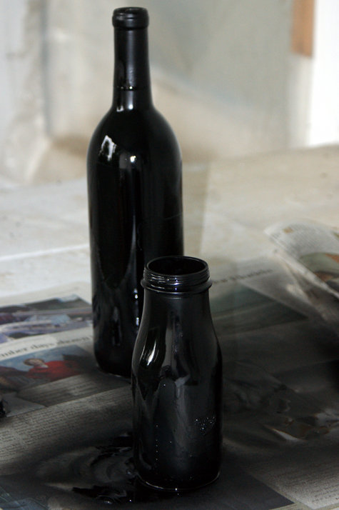 Chalkboard Paint Covered Wine Bottles