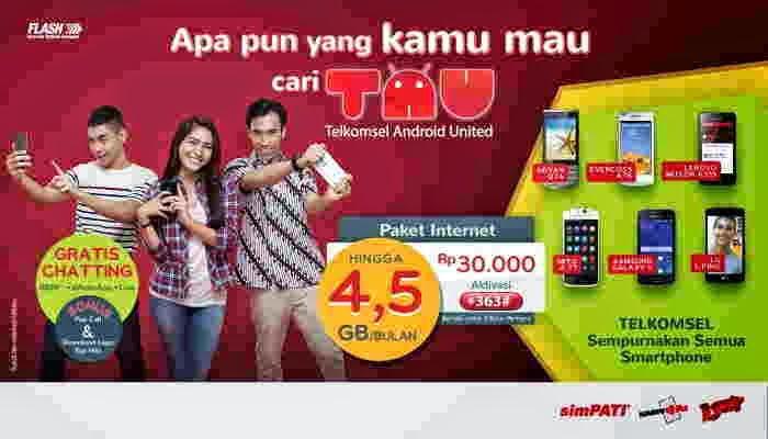 Cara Daftar Paket TAU Android Telkomsel 30 Ribu Dapet Kuota 4.5 Giga