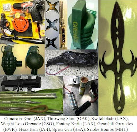 Firearm disguised as toy, throwing stars, inert grenades, knives, spear gun, smoke bombs, hoax itiem.