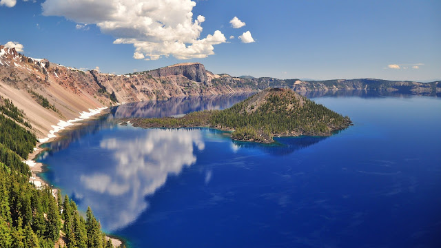 Volcanic Crater Lake Wide HD Wallpaper