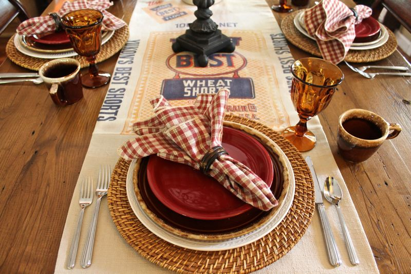 I used Mikasa  Italian Countryside  dinner plates Hull  Brown Drip  vintage luncheon plates and a red salad plate. I used vintage  Old Williamsburg  ... & Far Above Rubies: Feed sacks from the old country store...