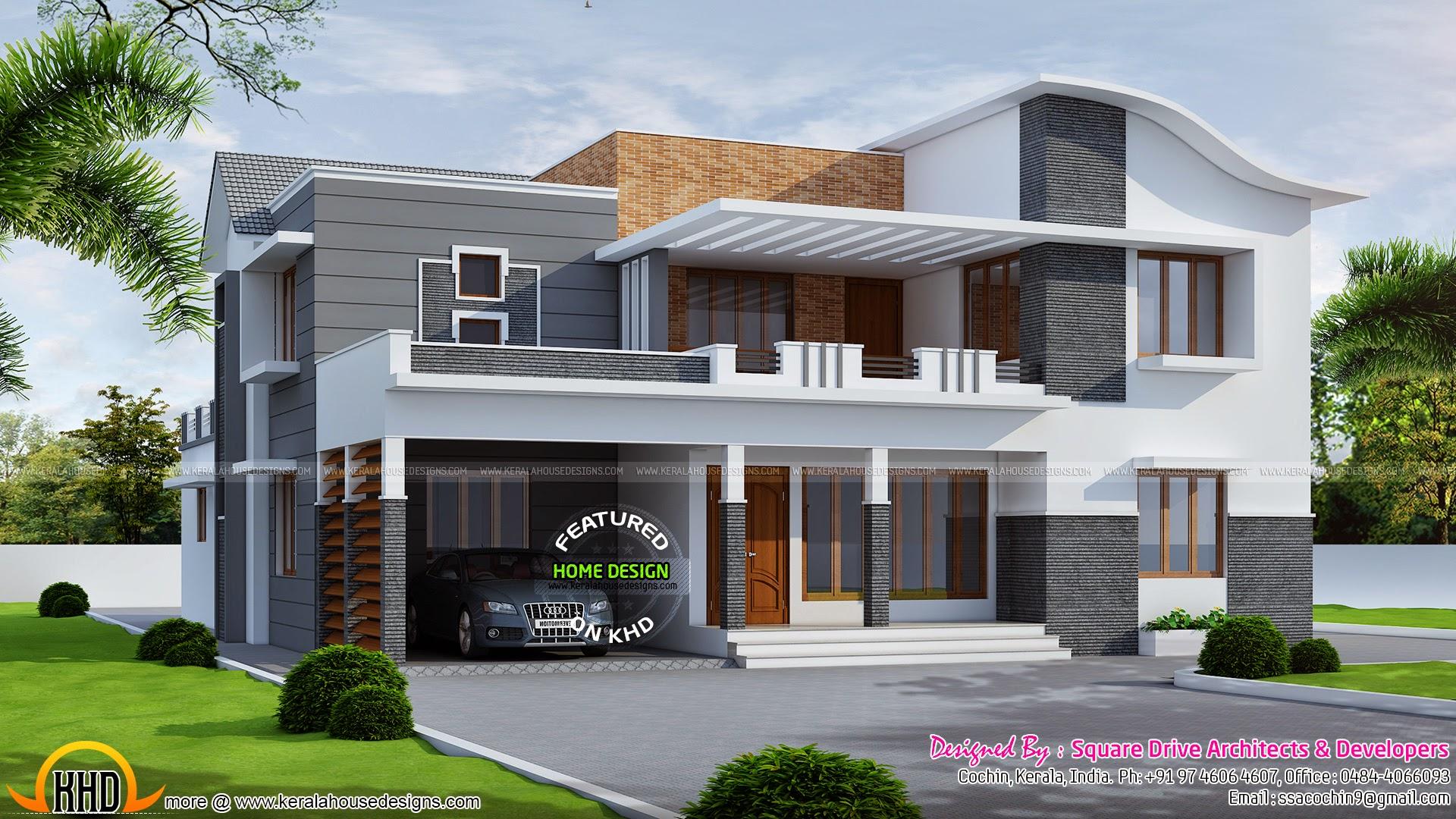 260 square meter modern villa kerala home design and for Indian villa designs exterior photos