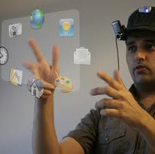 Future Technology - man interacts will hologram