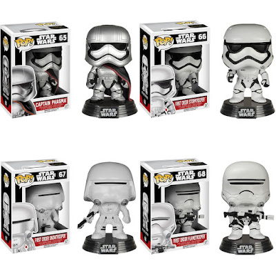 Star Wars: The Force Awakens Pop! Vinyl Figure Series by Funko - Captain Phasma, First Order Stormtrooper, First Order Snowtrooper & First Order Flametrooper