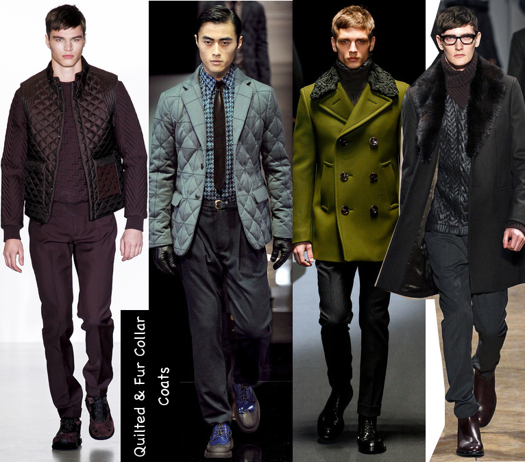 mens quilted and fur collar coats