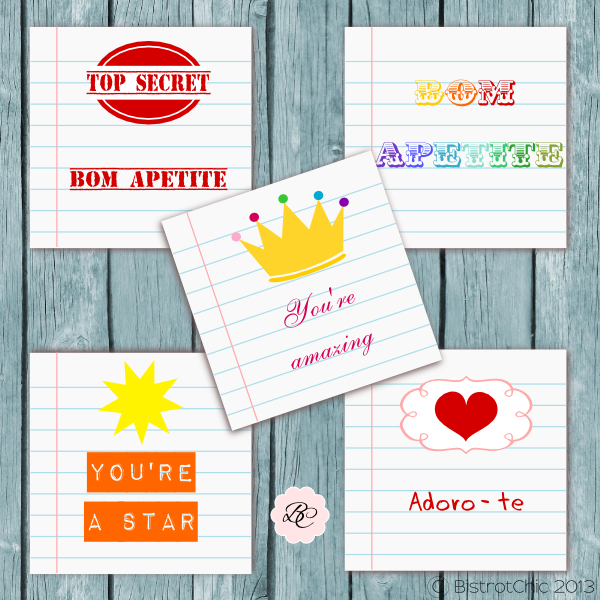 Free school notes cards from BistrotChic