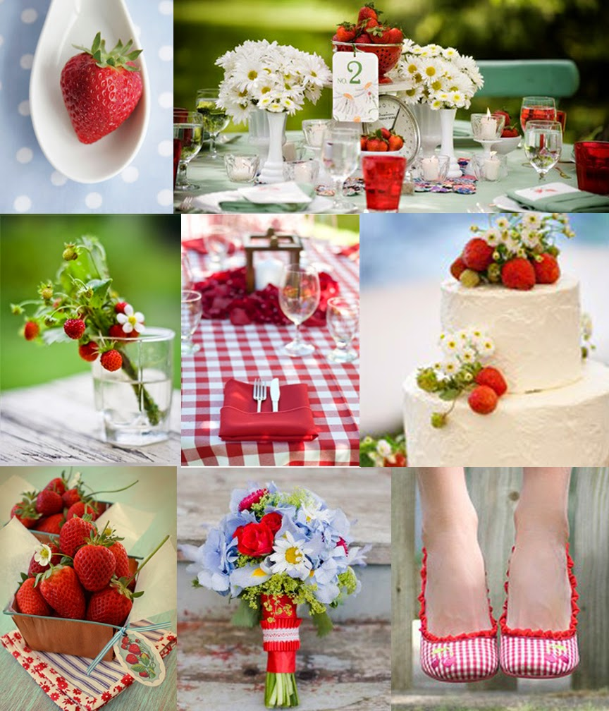strawberry, strawberries, gingham, red, baby blue, summer