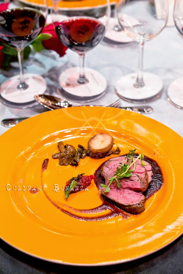 Veal tenderloin, thyme scented potato, sauteed porcini and tomato marmalade