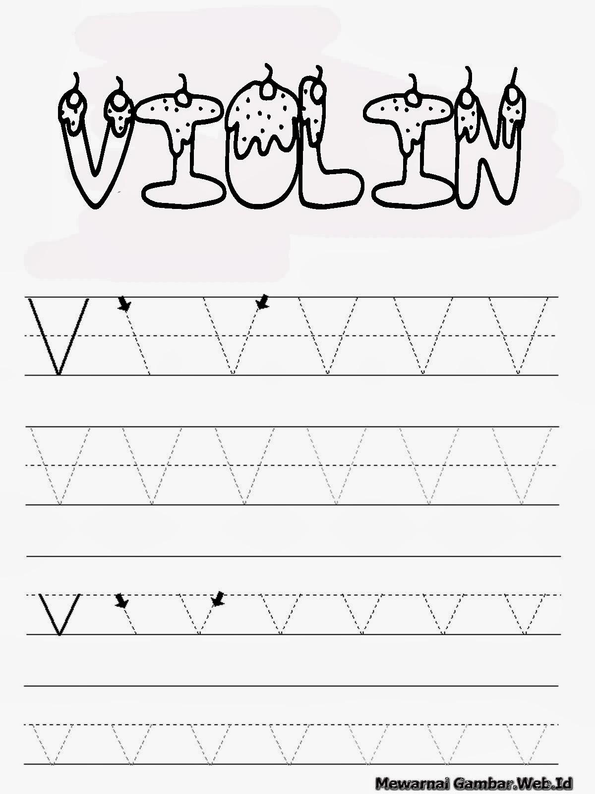 Belajar Menulis Huruf Alfabet V