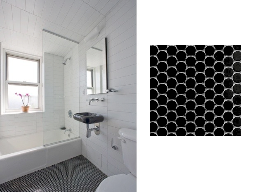Black And White Penny Tile Bathrooms Interior Decorating Terms 2014