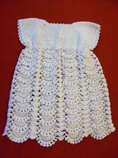 vestido a crochet para bebe de 3 a 6 meses hilado de algodon nube