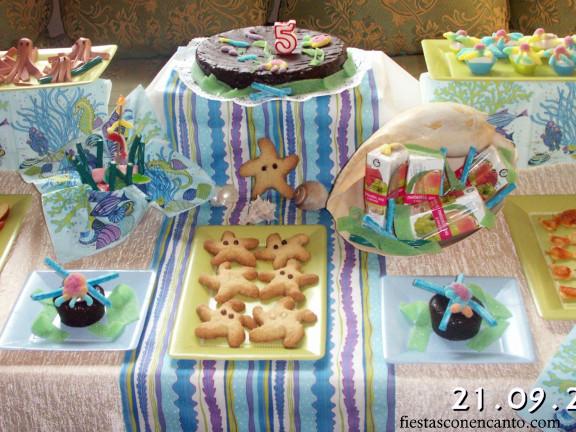 Fiestas con encanto buffet cumplea os infantil bajo el mar for Que poner de merienda en un cumpleanos infantil