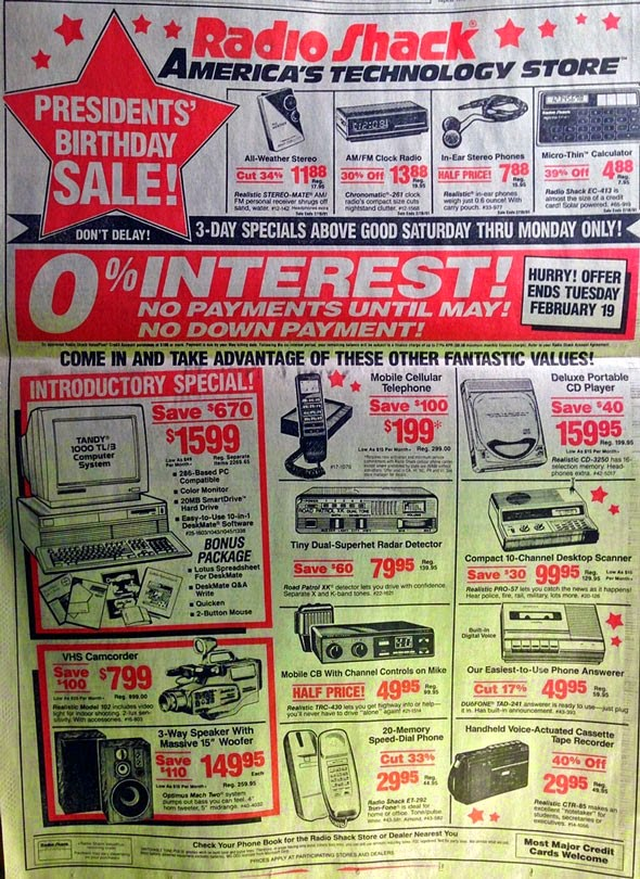 Unbelievable...These 23 Mind Blowing Facts Will DESTROY Your Understanding Of Time - Everything in this 1991 RadioShack ad exists in a single smartphone.