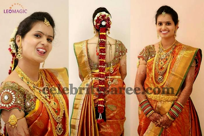 Bride in Huge Work Wedding Blouse
