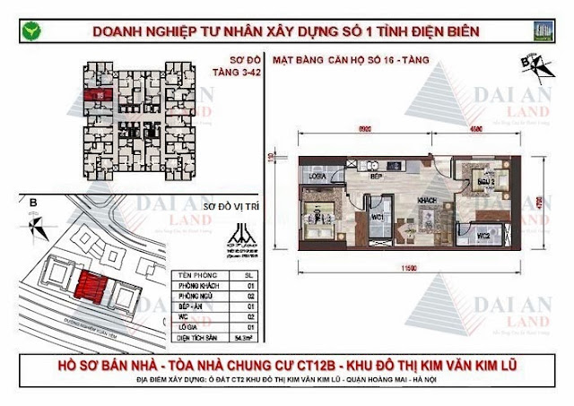 Căn 16 - Tòa CT12B Chung Cư Kim Văn Kim Lũ