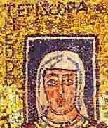 Biskupka z niebieskim nimbem, którym oznaczano osobę żyjącą
