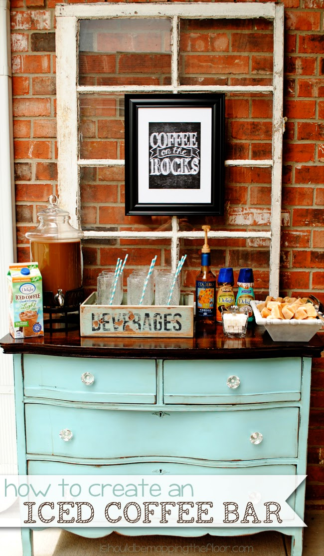 I should be mopping the floor setting up an iced coffee bar for Coffee bar setup ideas