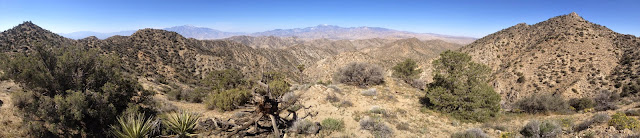 Panorama west from Warren View (4880'+). Highpoint 5005' is on the far left (south) and Warren Point (5103') is on the far right (north)