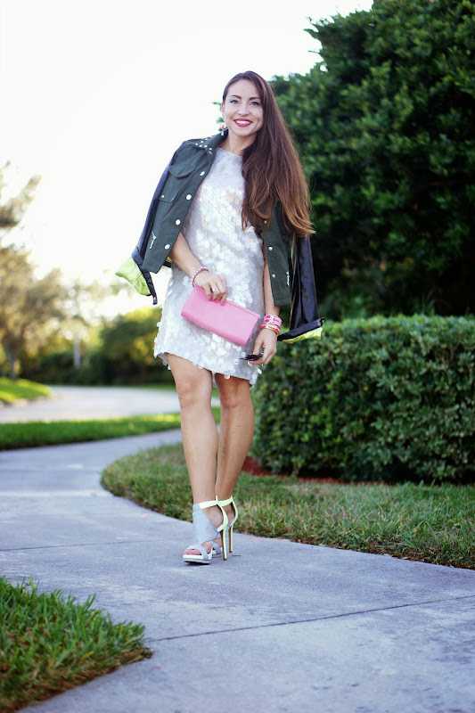 Look of the Day: Pinks, Paillettes & a Military Jacket title=