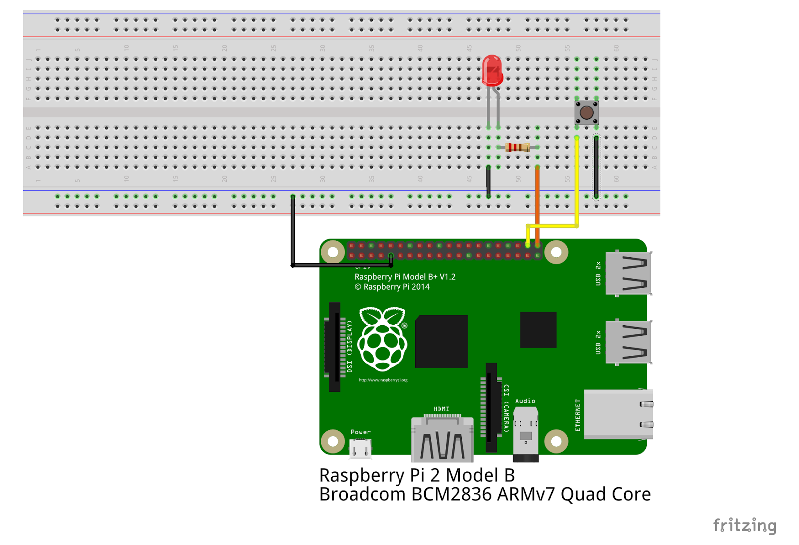 Simple Read Write Of The Raspberry Pi Gpio Pod B Circuit Diagram A Blogger Called Eric Has Written Up Piece Code And An Accompanying Fritzing How To Switch Input Turn Led On