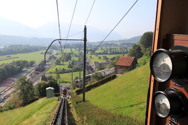 Locher cogwheel train ride is coming to the end at Alpnachstad section at Pilatus Kulm (Mount Pilatus) in Lucerne, Switzerland