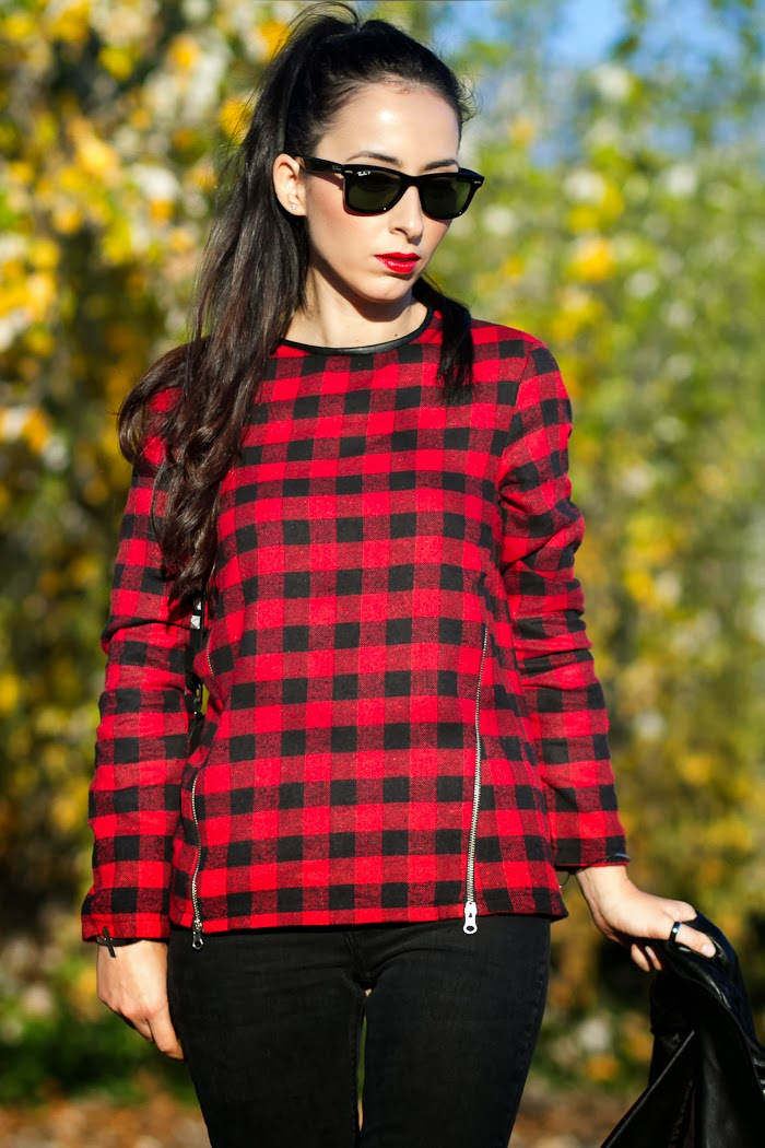 Plaid Tartan Blouse with leather and zippers and Jeans by Zara