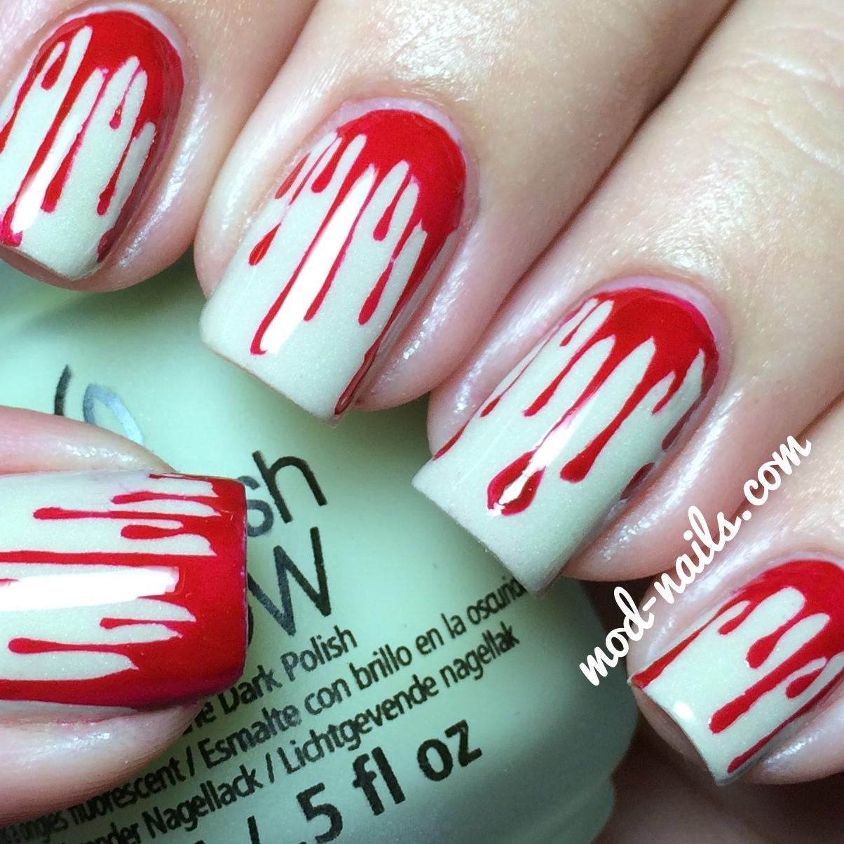 blood drip glow in the dark halloween nails - Blood For Halloween