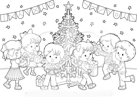 Lots Of Presents Coloring Page