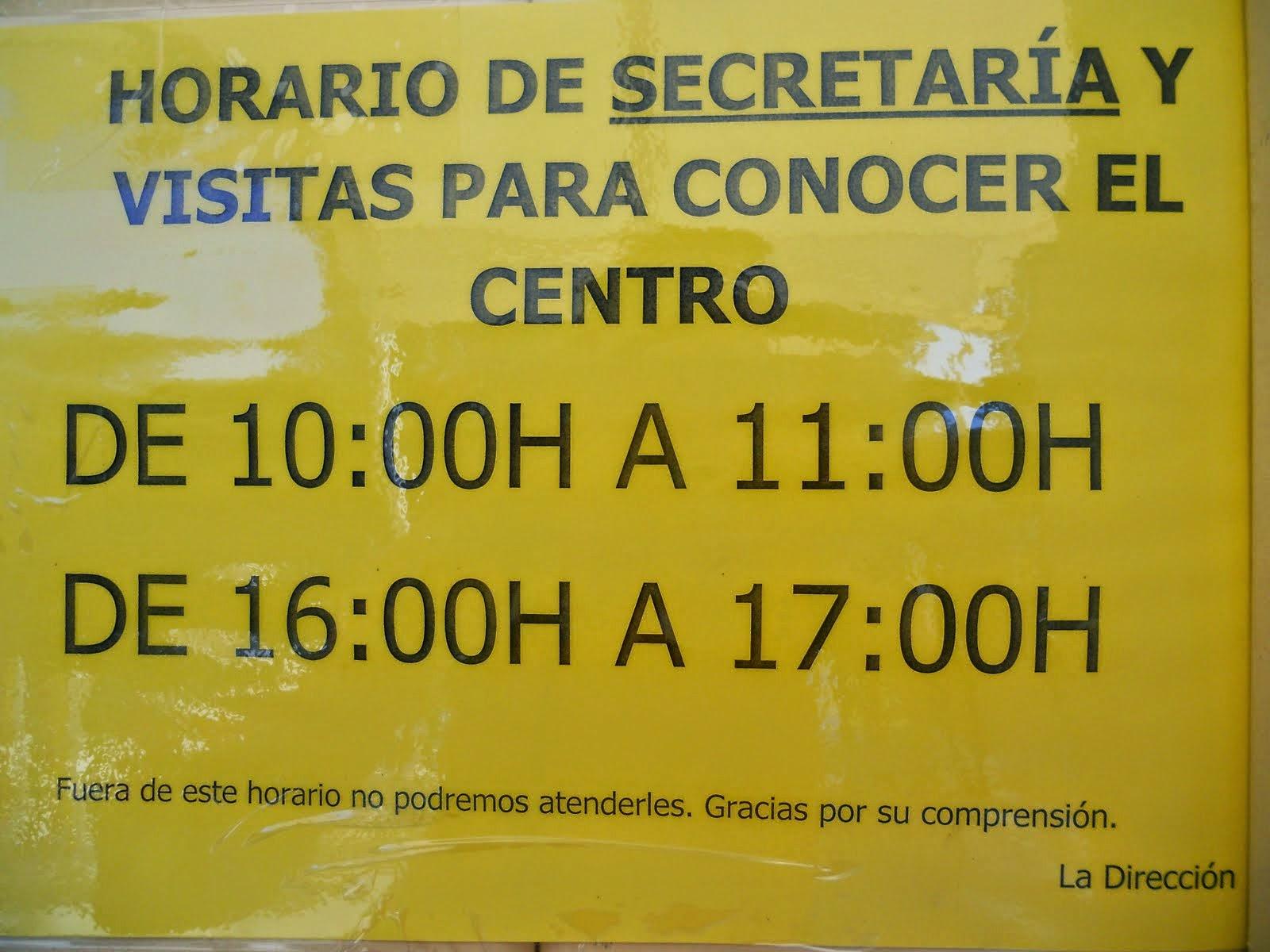 Horario de secretaría del centro