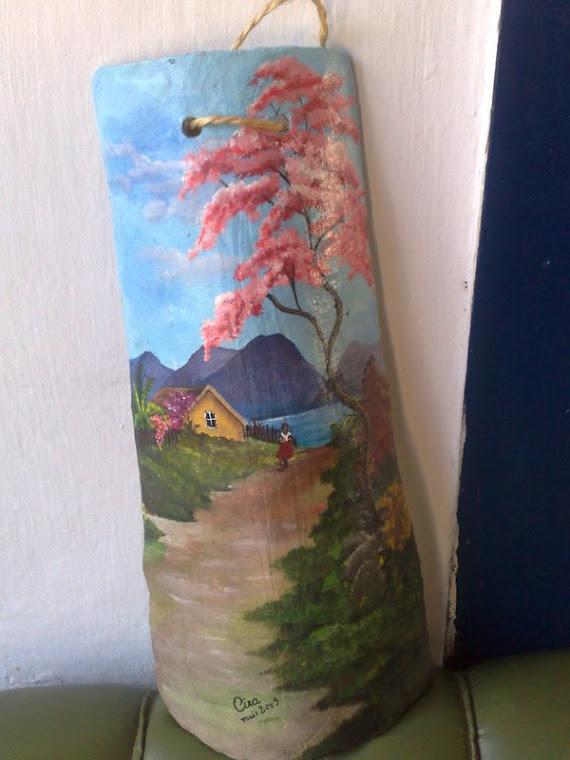 Paisagem, Pintura Acrílica sobre telha