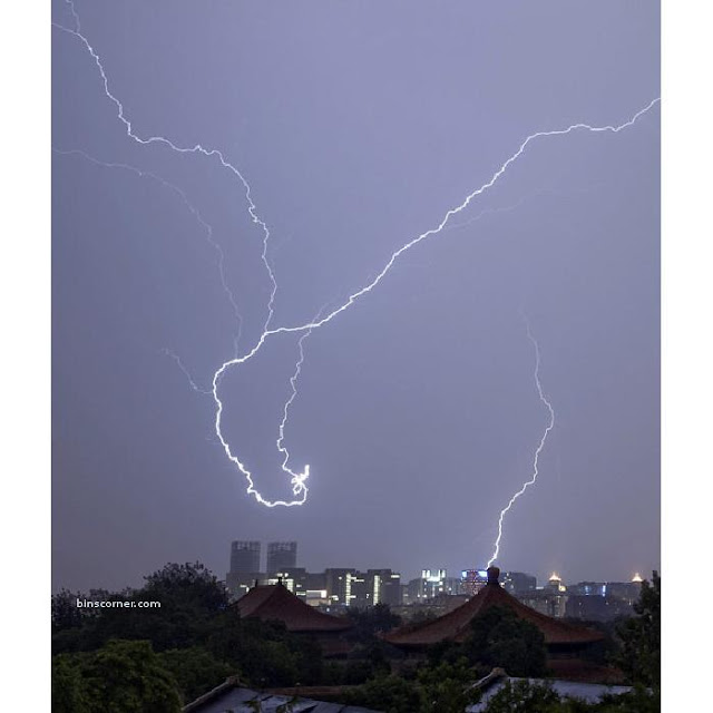 Lightning strikes during a thunder storm in Beijing